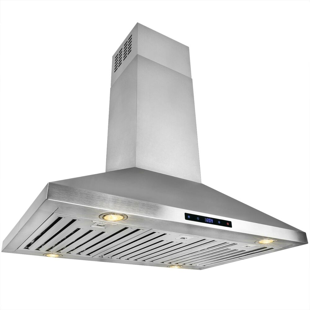 Ductless Range Hoods ~ Quot stainless steel island mount range hood touch screen