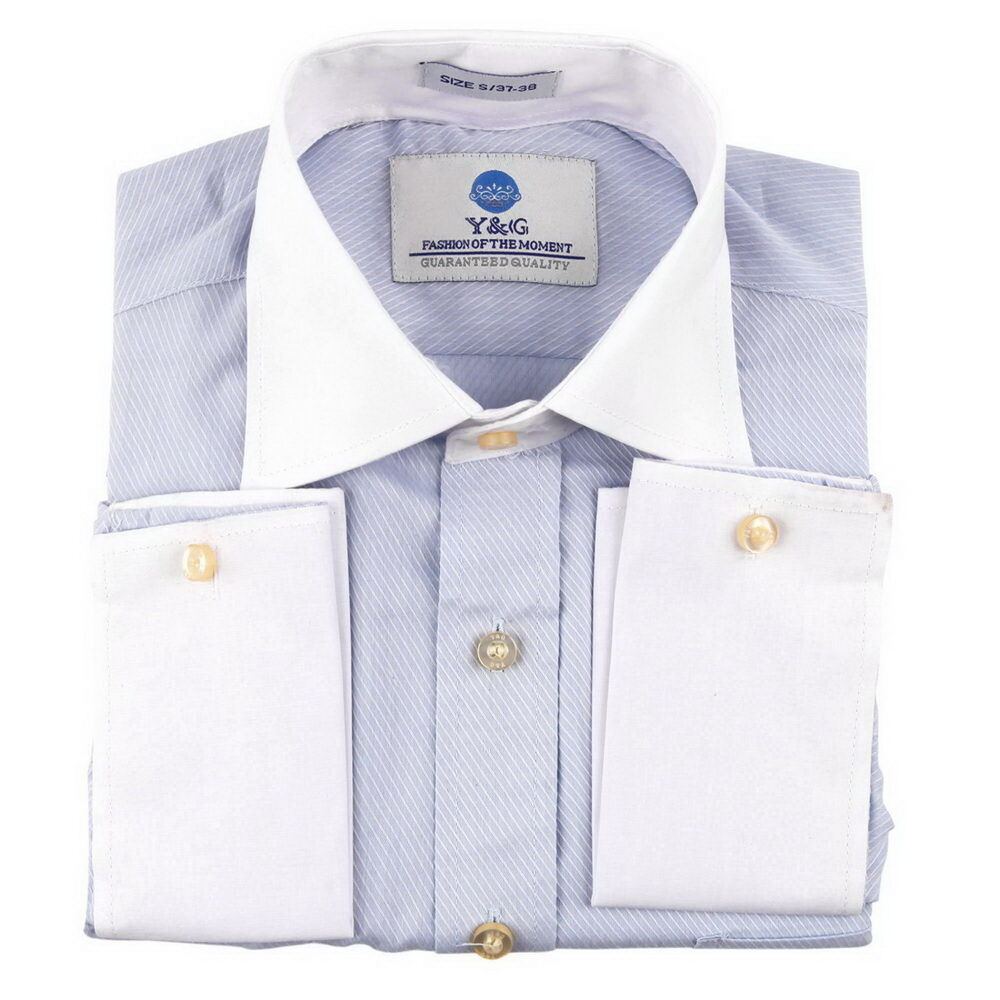 fc1017 blue striped dress shirt discount for marriage
