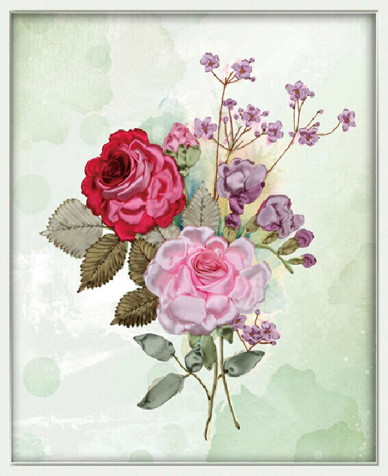 Ribbon embroidery kit floral a bouquet of flowers