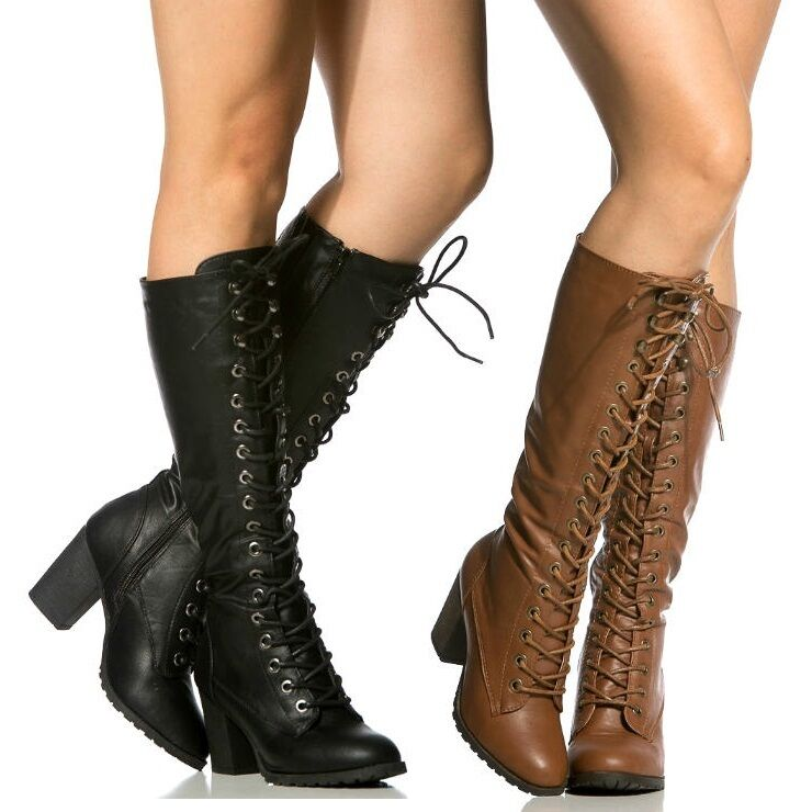 black chestnut riding combat lace up knee high boots women
