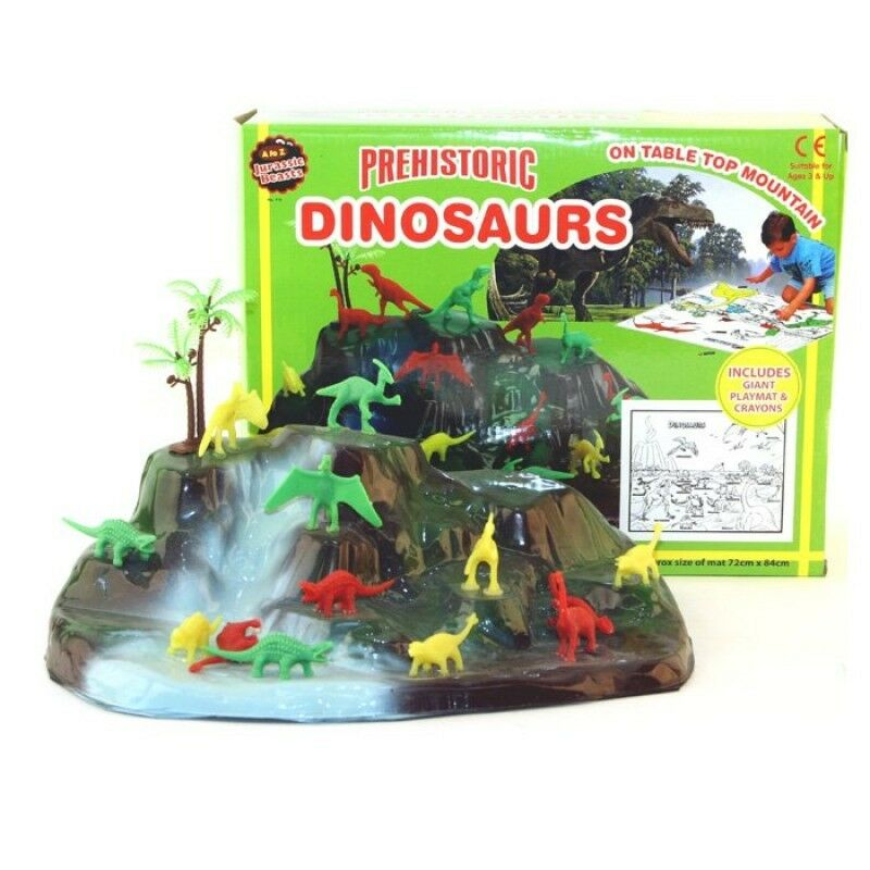Kids Dinosaurs Play Set Playmat Crayons Dinosaur Mountain