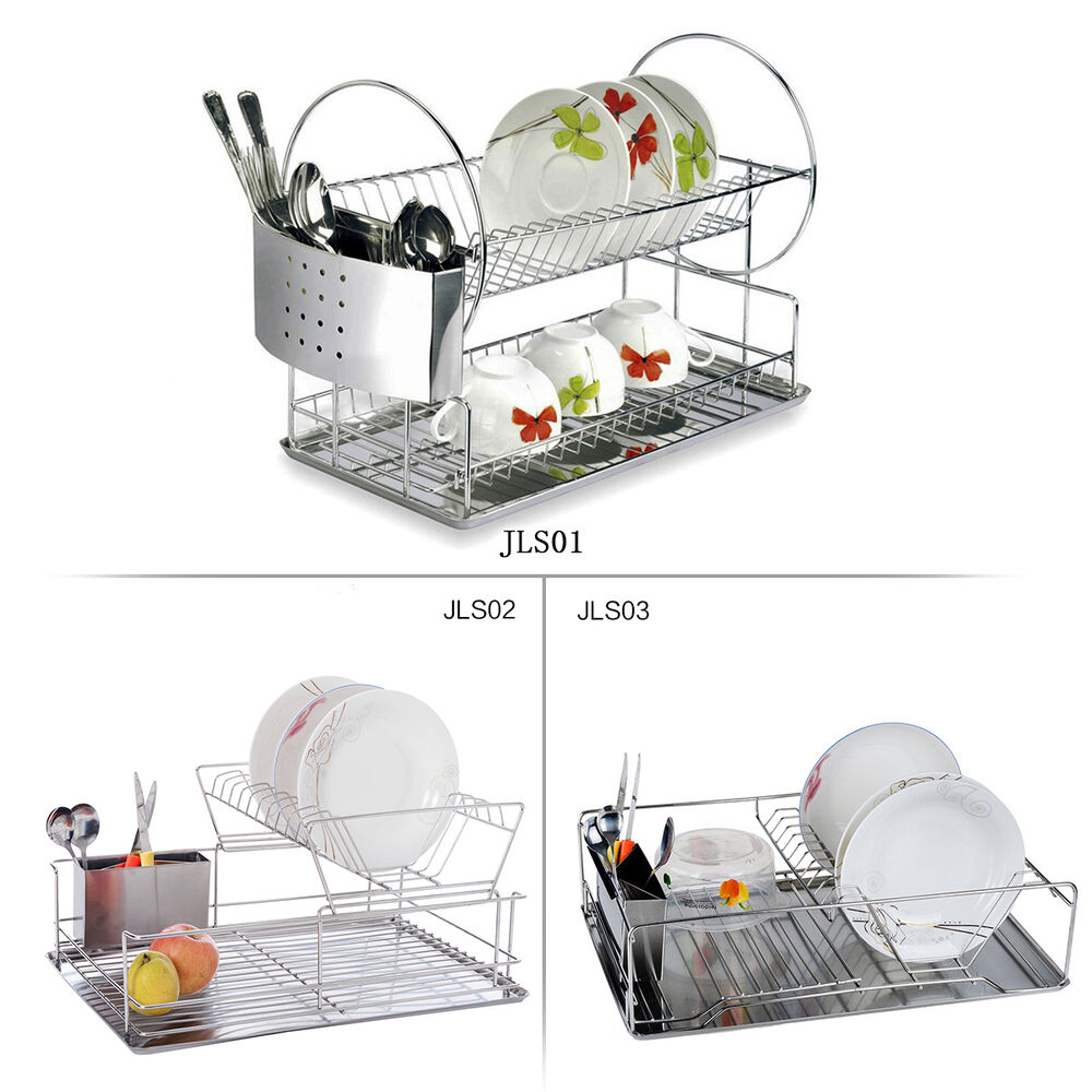 Stainless Steel Dish Drainer Cutlery Cup Rack Plate Drain