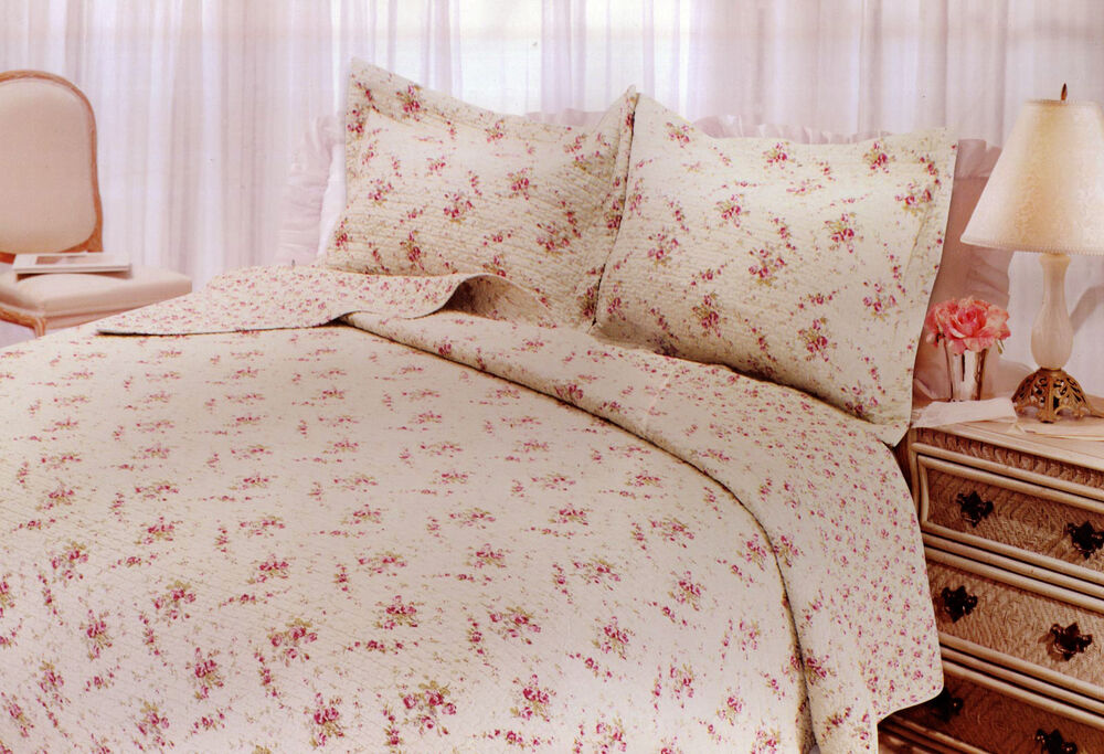 twin quilt set cottage shabby chic pink roses abbey cotton ebay. Black Bedroom Furniture Sets. Home Design Ideas