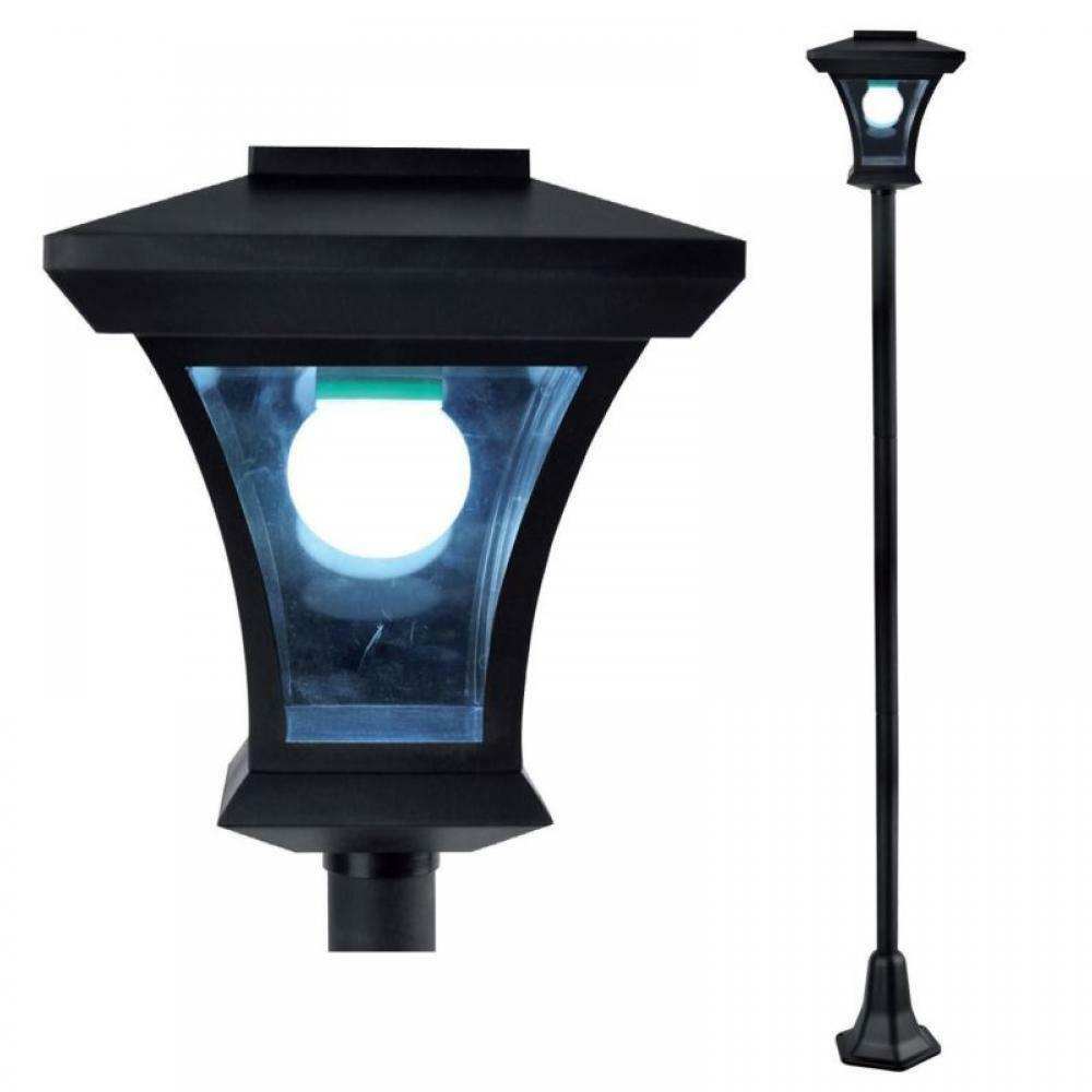 new solar powered lamp post light outdoor garden patio led. Black Bedroom Furniture Sets. Home Design Ideas
