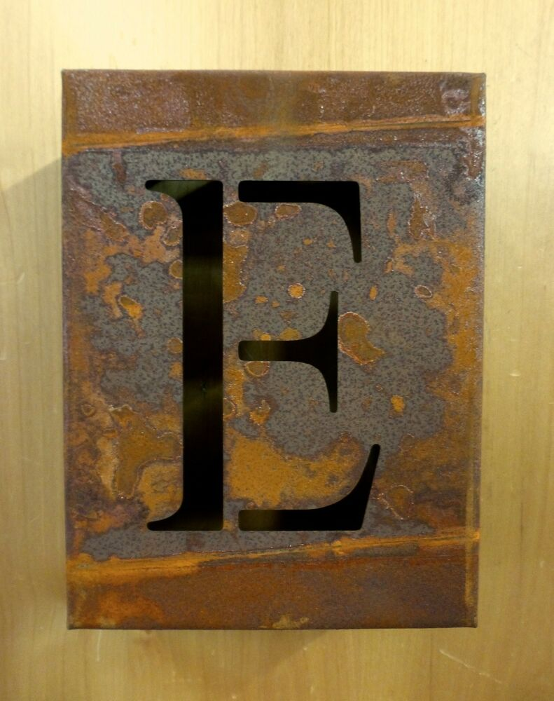 8 Quot Rusty Rusted Industrial Metal Block Cut Sign Letter E
