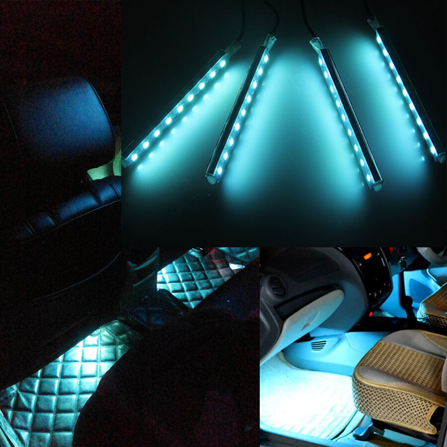 4x 9 led ice blue car charge interior floor decorative light lamp 12v w switch ebay for Led lighting for cars interior