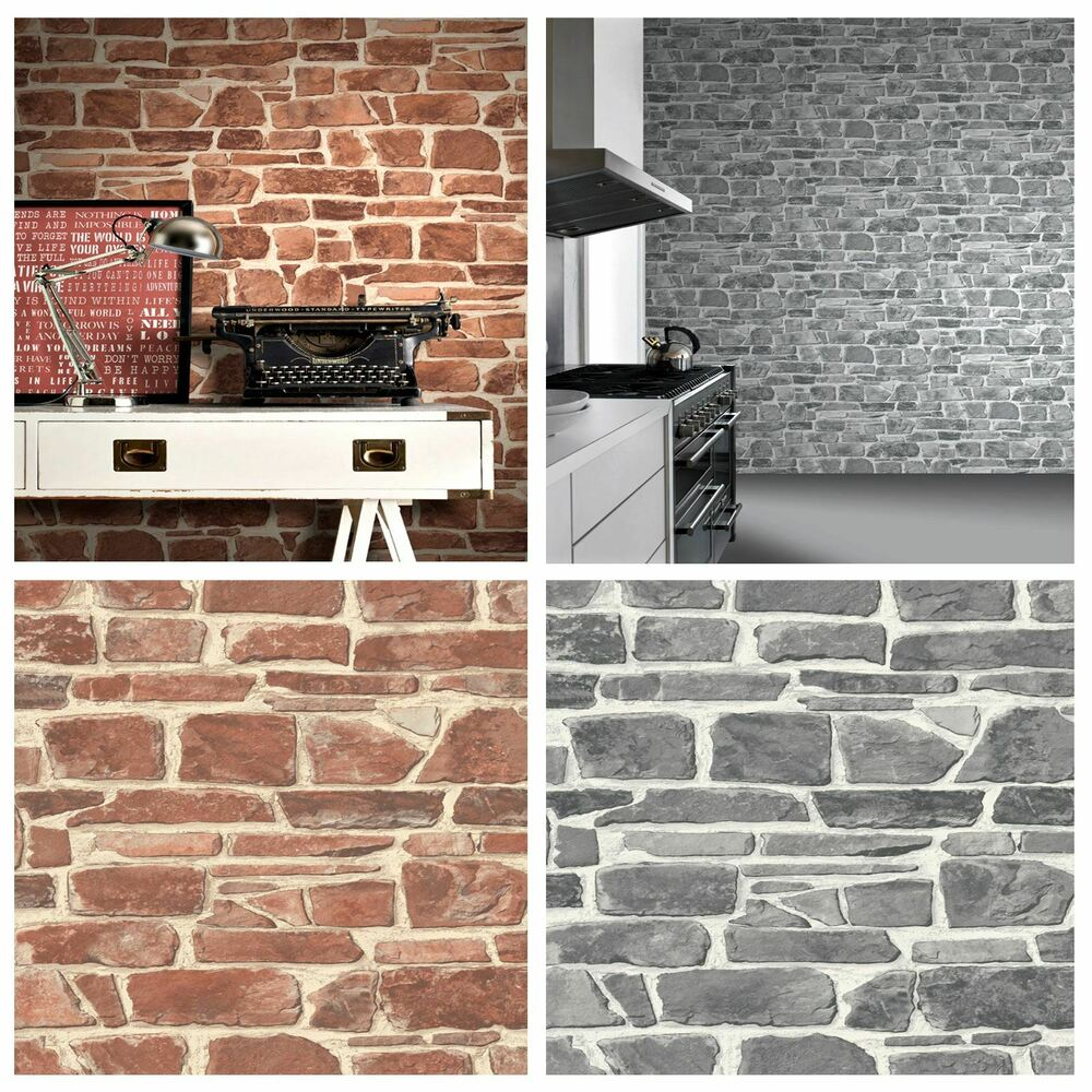 STONE WALL WALLPAPER BRICK EFFECT QUALITY TEXTURED FEATURE ...