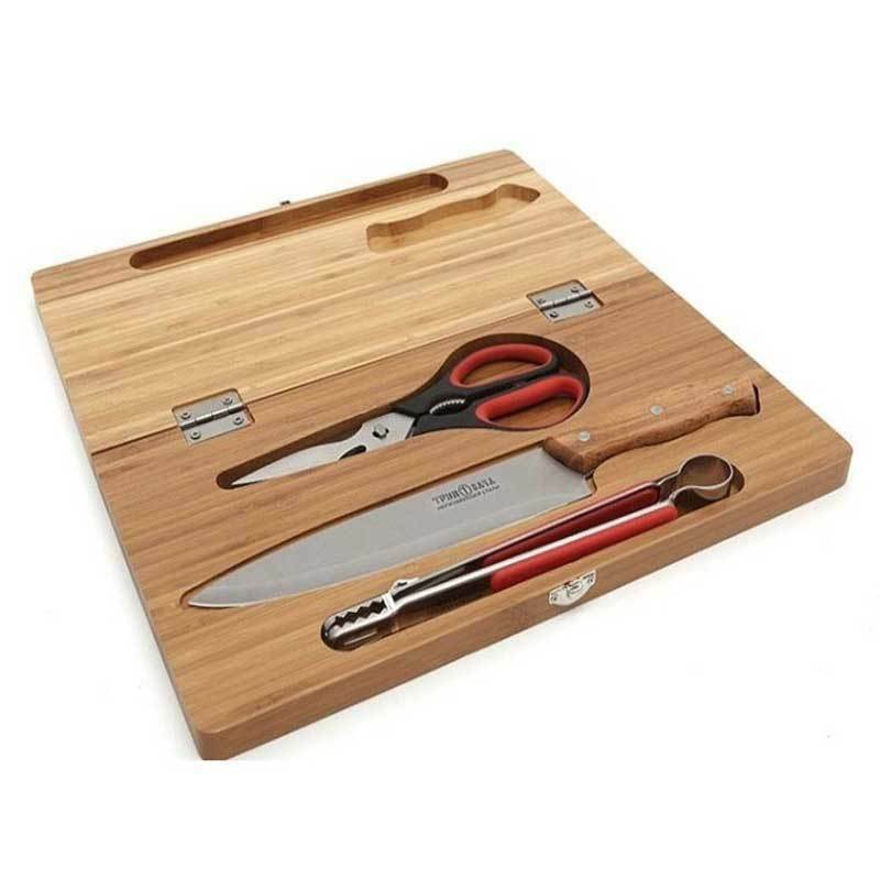 Camping cutting board set scissors knife kitchen tongs ebay for Kitchen knife set of 7pcs with cutting board
