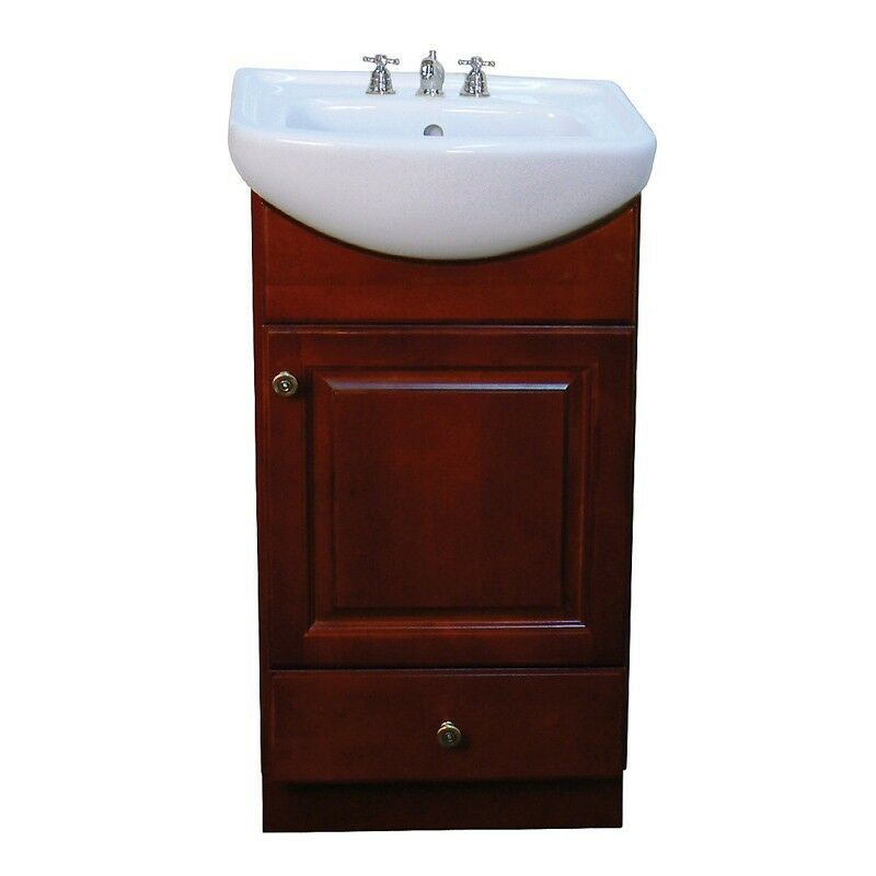 petite 18 inch wood dark cherry bathroom vanity ebay