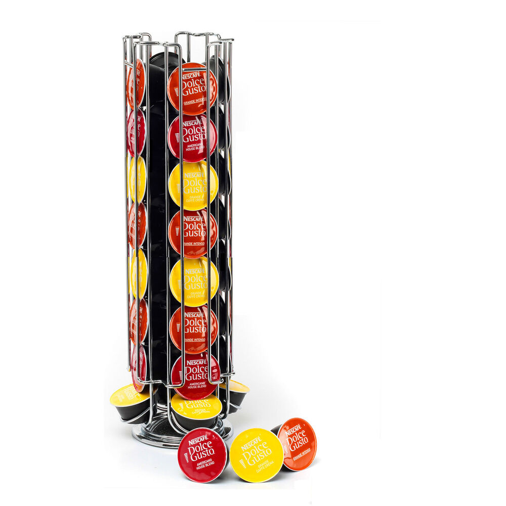 revolving rotating 32 capsule coffee pod holder tower stand rack for dolce gusto 5060250255532. Black Bedroom Furniture Sets. Home Design Ideas