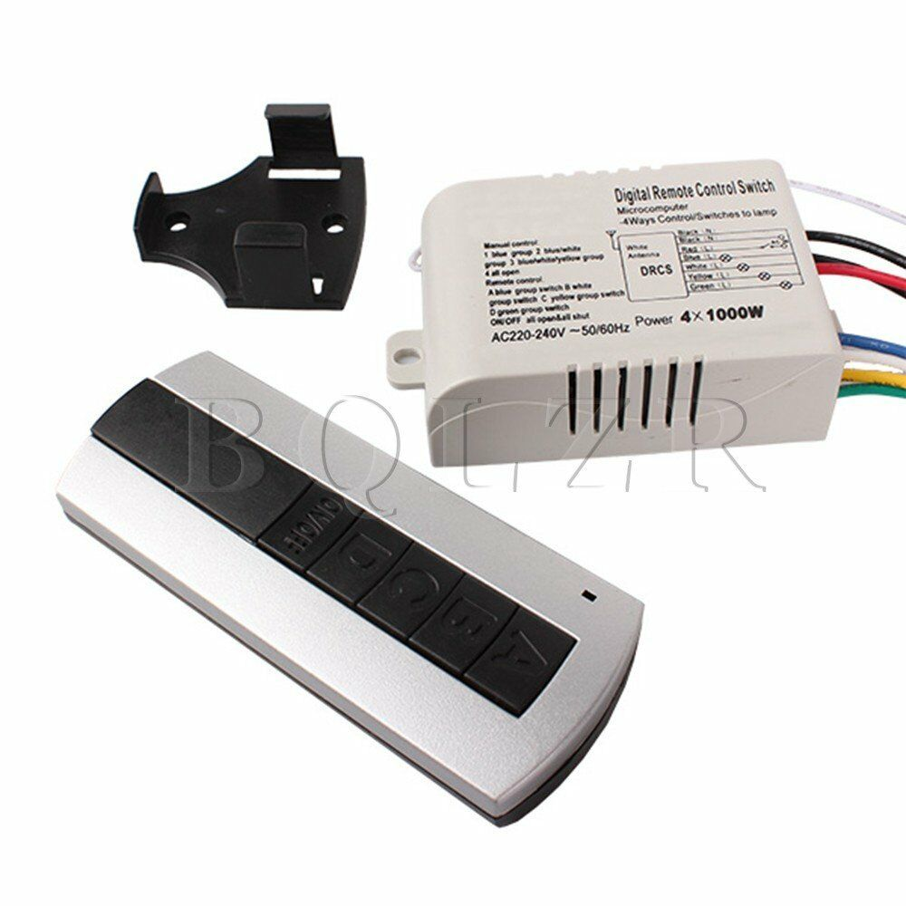 wireless 4 channel ceiling lamp light on off remote control switch controller ebay. Black Bedroom Furniture Sets. Home Design Ideas