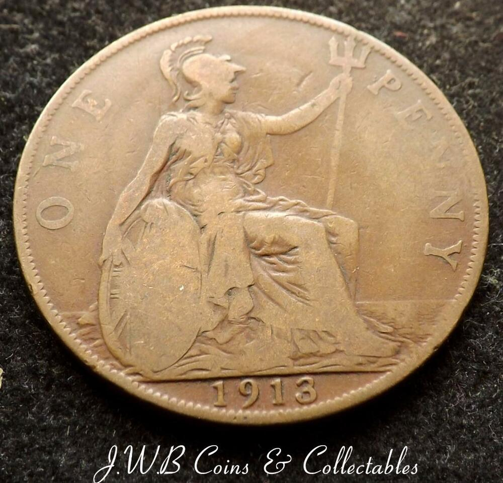 1913 george v one penny 1d coin great britain ebay for One penny homes