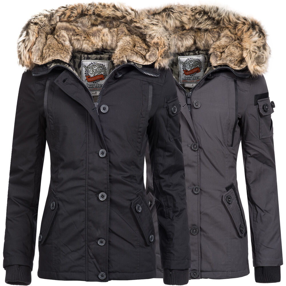 urban surface damen winterjacke winter parka daunen jacke mantel kapuze 44234a ebay. Black Bedroom Furniture Sets. Home Design Ideas