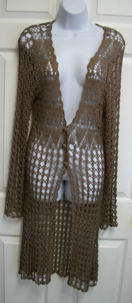 Duster Jacket Knitting Pattern : BCBG MAXAZRIA SHEER BROWN CROCHET KNIT LONG DUSTER CARDIGAN SWEATER JACKET M ...