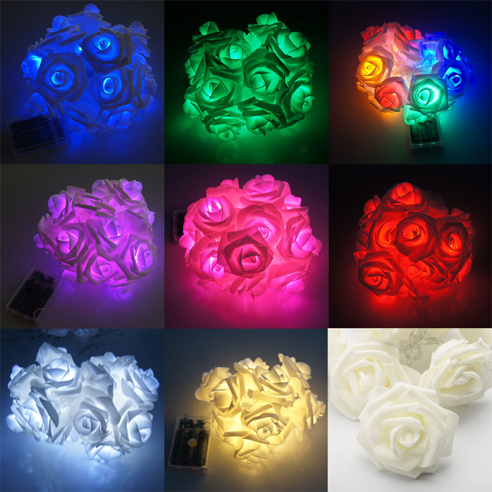 Led Rose String Lights : 20 LED Rose Flower Fairy Wedding Garden Party Christmas Decor Xmas String Lights eBay
