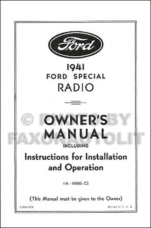 1941 Ford Radio Owners Manual And Installation Guide 41