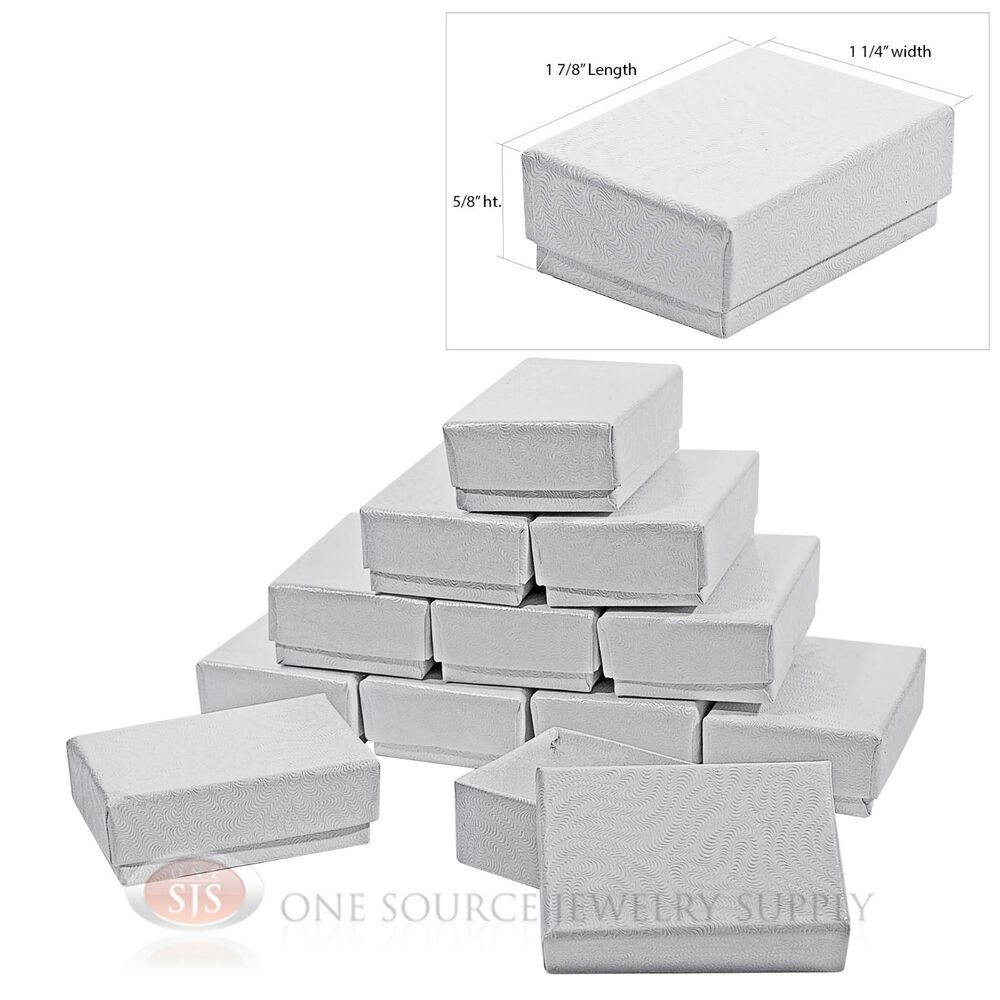 12 white swirl cardboard cotton filled jewelry gift boxes. Black Bedroom Furniture Sets. Home Design Ideas