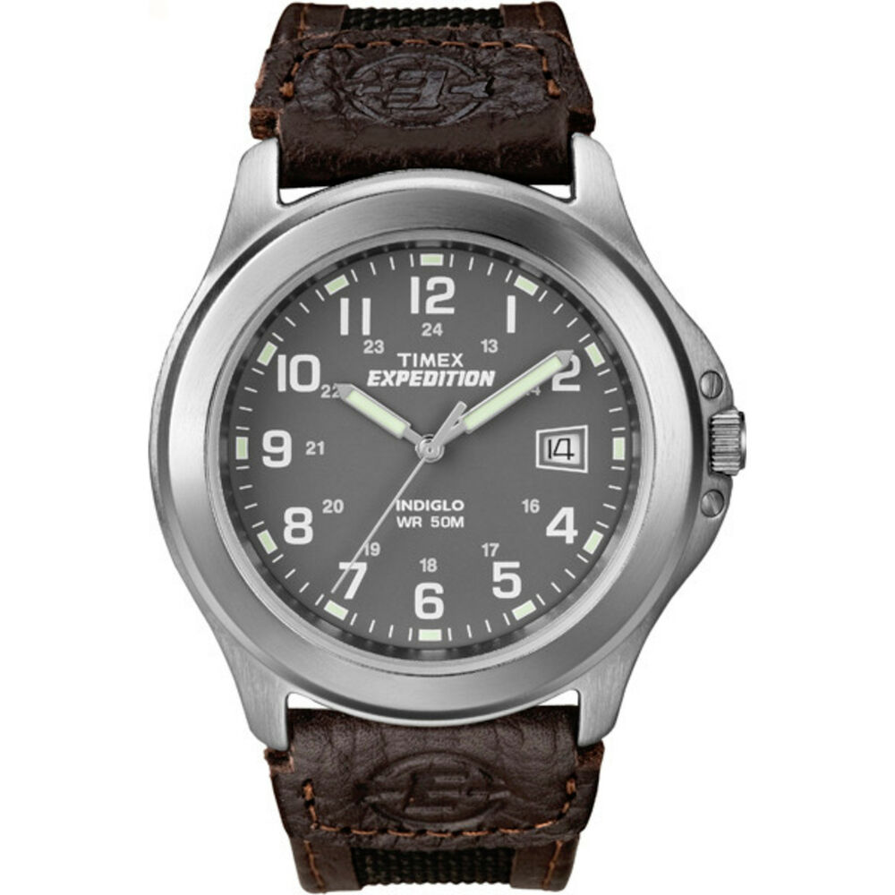 Timex men 39 s t40091 expedition metal field brown nylon and leather strap watch 48148400917 ebay for Expedition watches