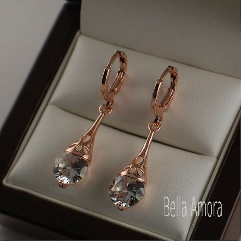 18k 18ct Rose Gold Plated Dangle Drop Earrings With Swa