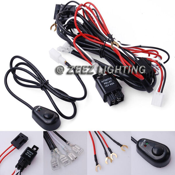 fog light relay harness wire kit hid led lamp worklamp spot work driving bar c16 | ebay diy fog light wiring harness #12