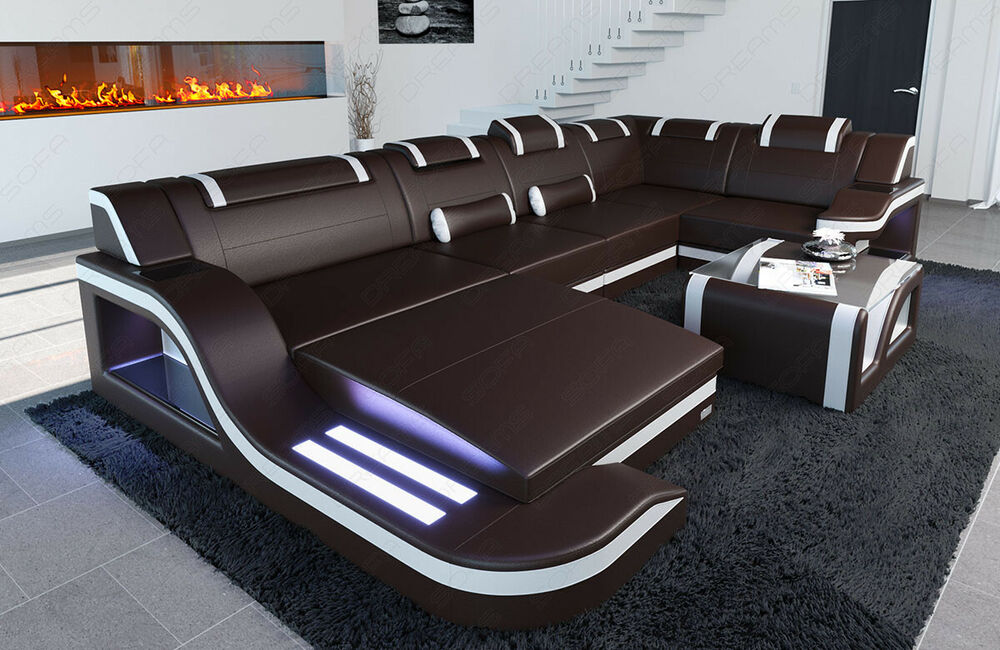 designer leder couch sofa palermo u form mit led beleuchtung dunkelbraun weiss ebay. Black Bedroom Furniture Sets. Home Design Ideas