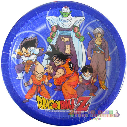 Dragon ball z large paper plates 8 birthday party for Dragon ball z decorations
