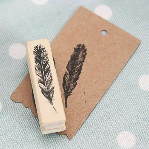 East of india feather wooden rubber stamp craft for Custom craft rubber stamps