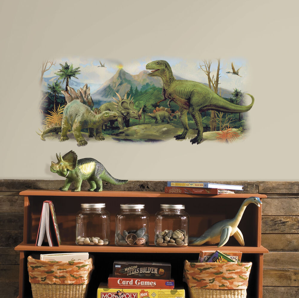 Big Dinosaur Scene Removable Wall Decal Dinosaurs Bedroom