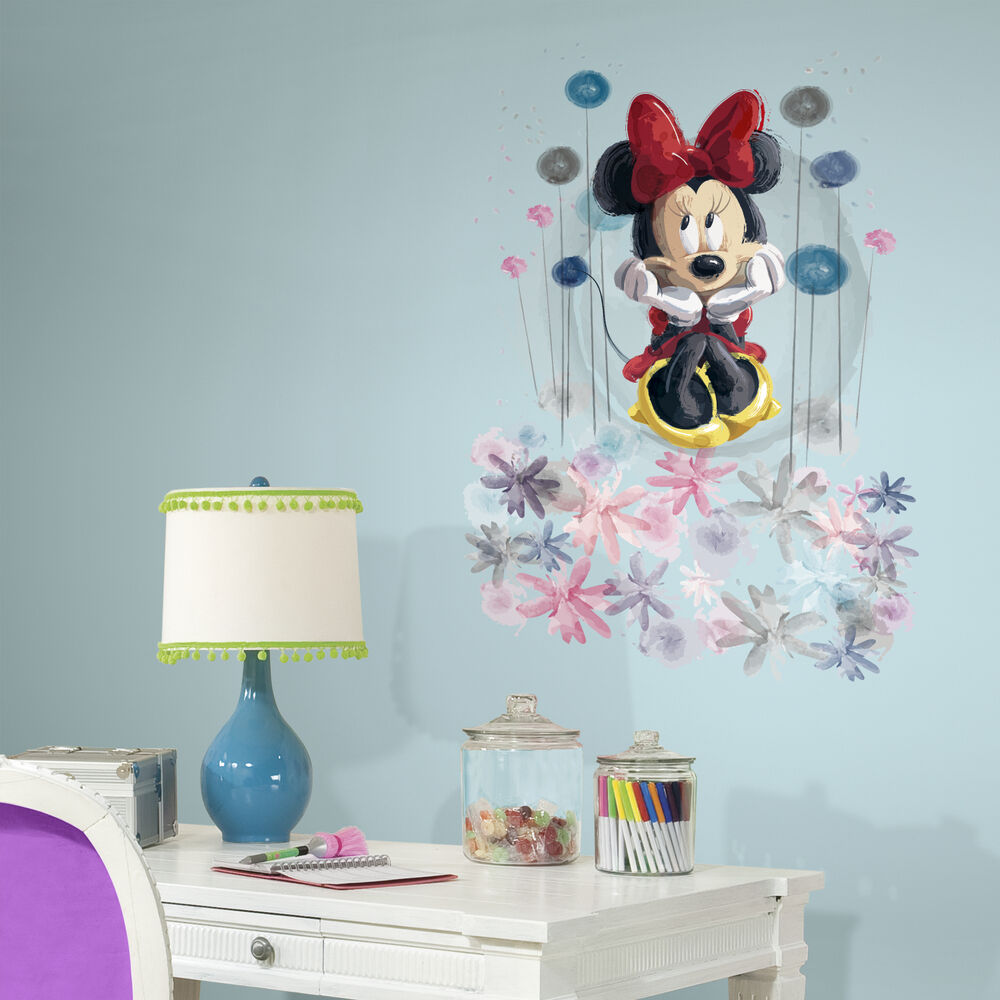 minnie mouse floral giant wall decals big disney stickers. Black Bedroom Furniture Sets. Home Design Ideas