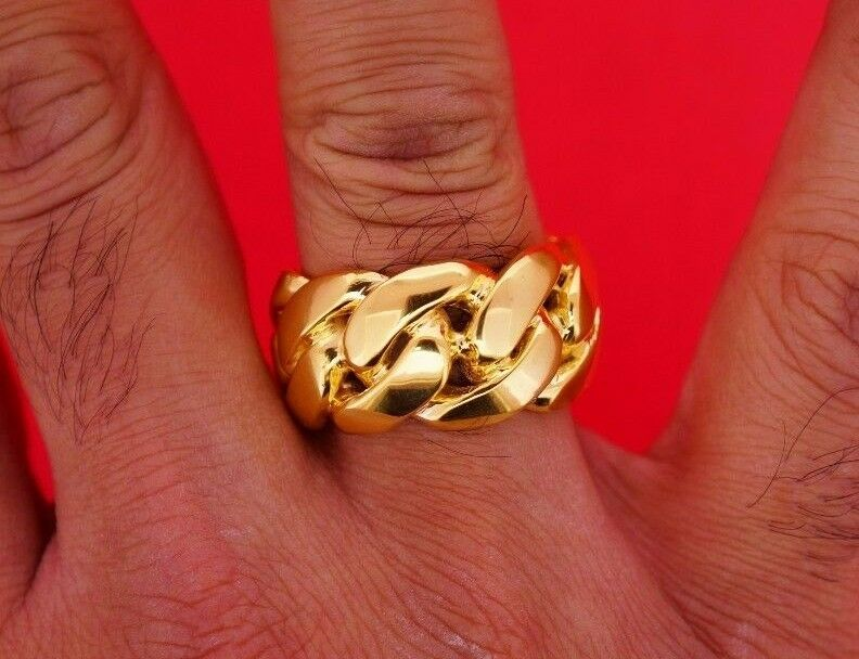 Mens Miami Cuban Link Ring 16mm 10k Solid Gold Extra