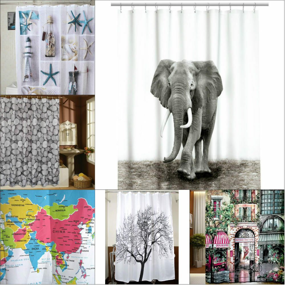New Elephant Word Map Tree Shower Curtain Bathroom