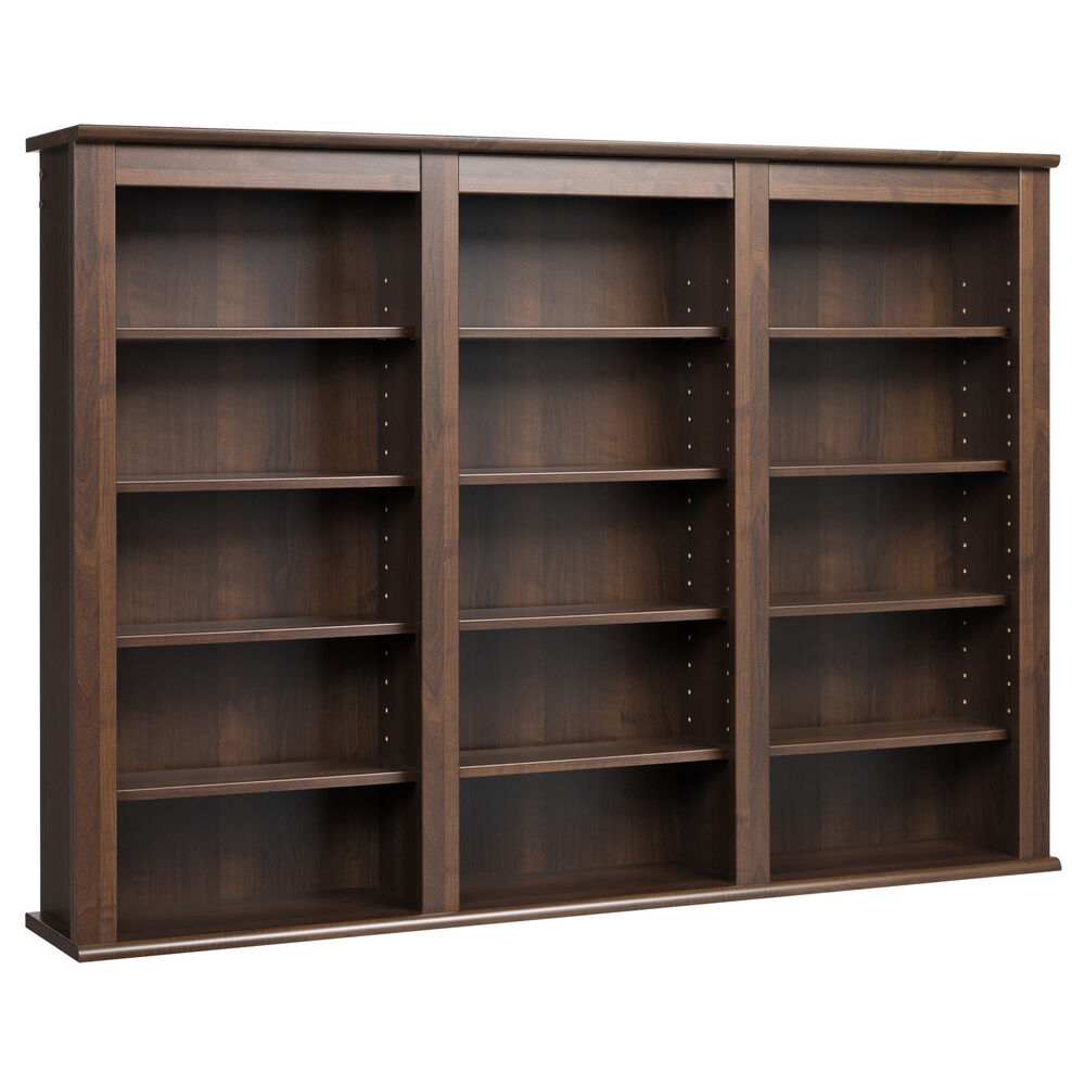 Everett espresso wall hanging media storage cabinet ebay In wall dvd storage