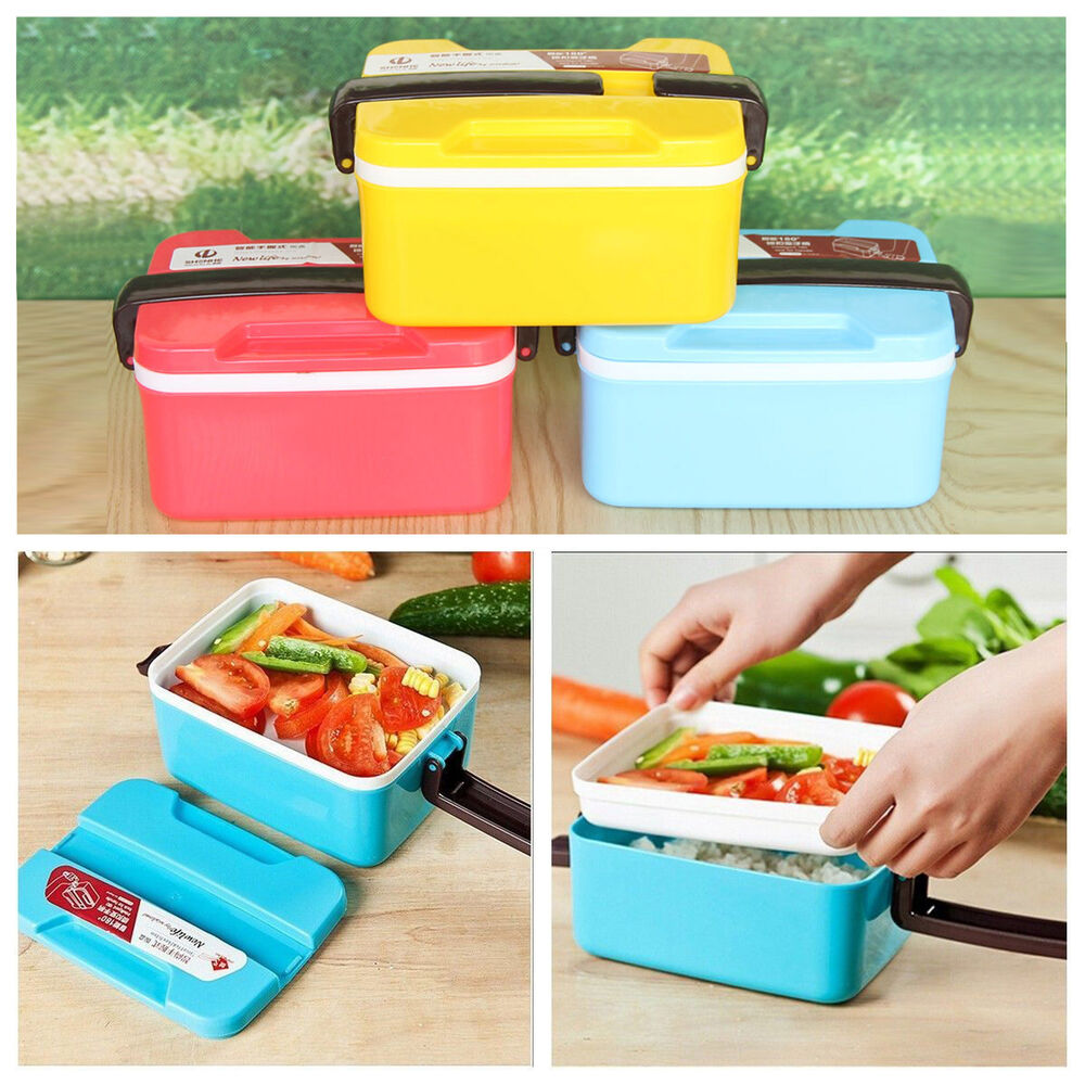portable picnic food container box 2 layers bento lunch. Black Bedroom Furniture Sets. Home Design Ideas