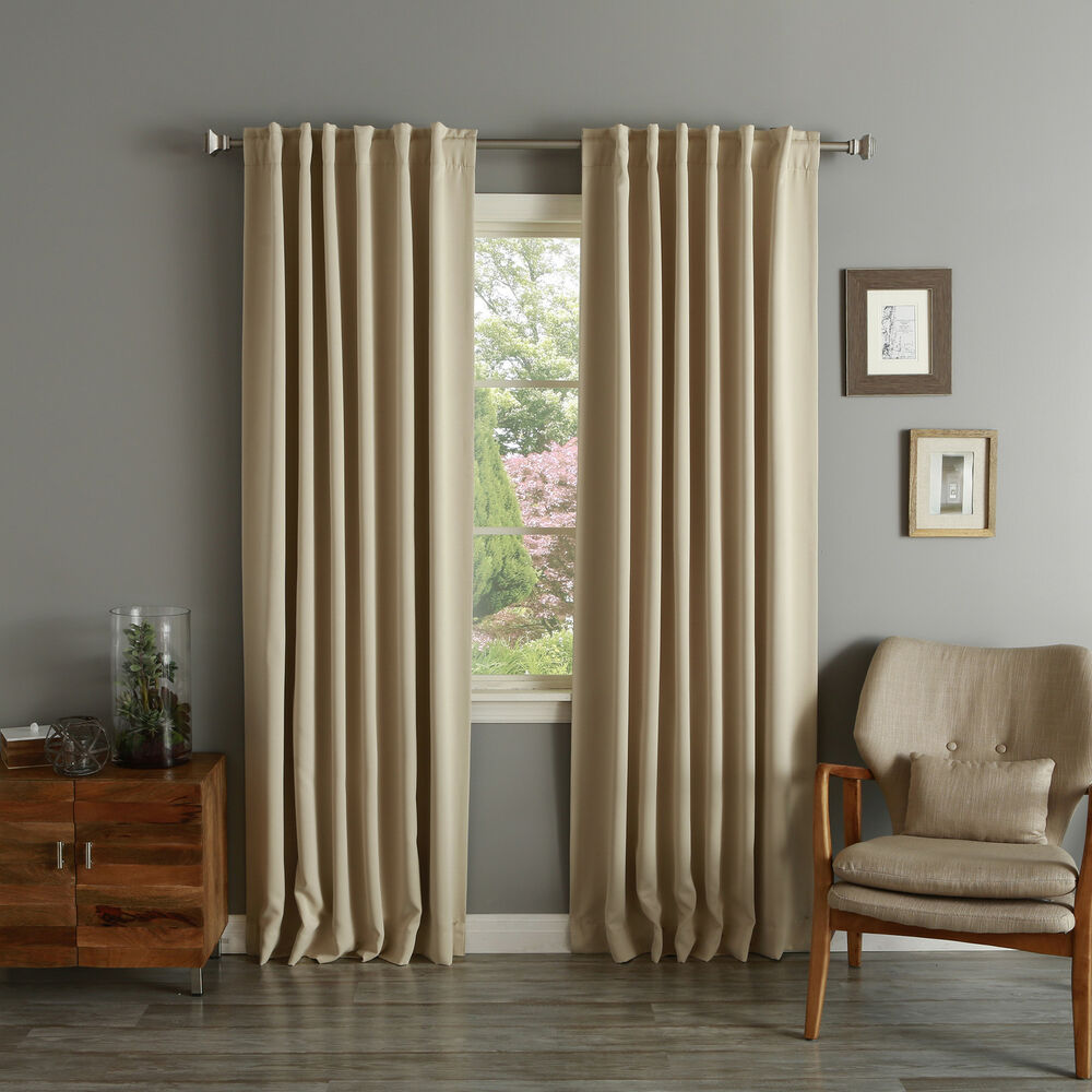 Aurora Home Solid Insulated Thermal Blackout Curtain Panel
