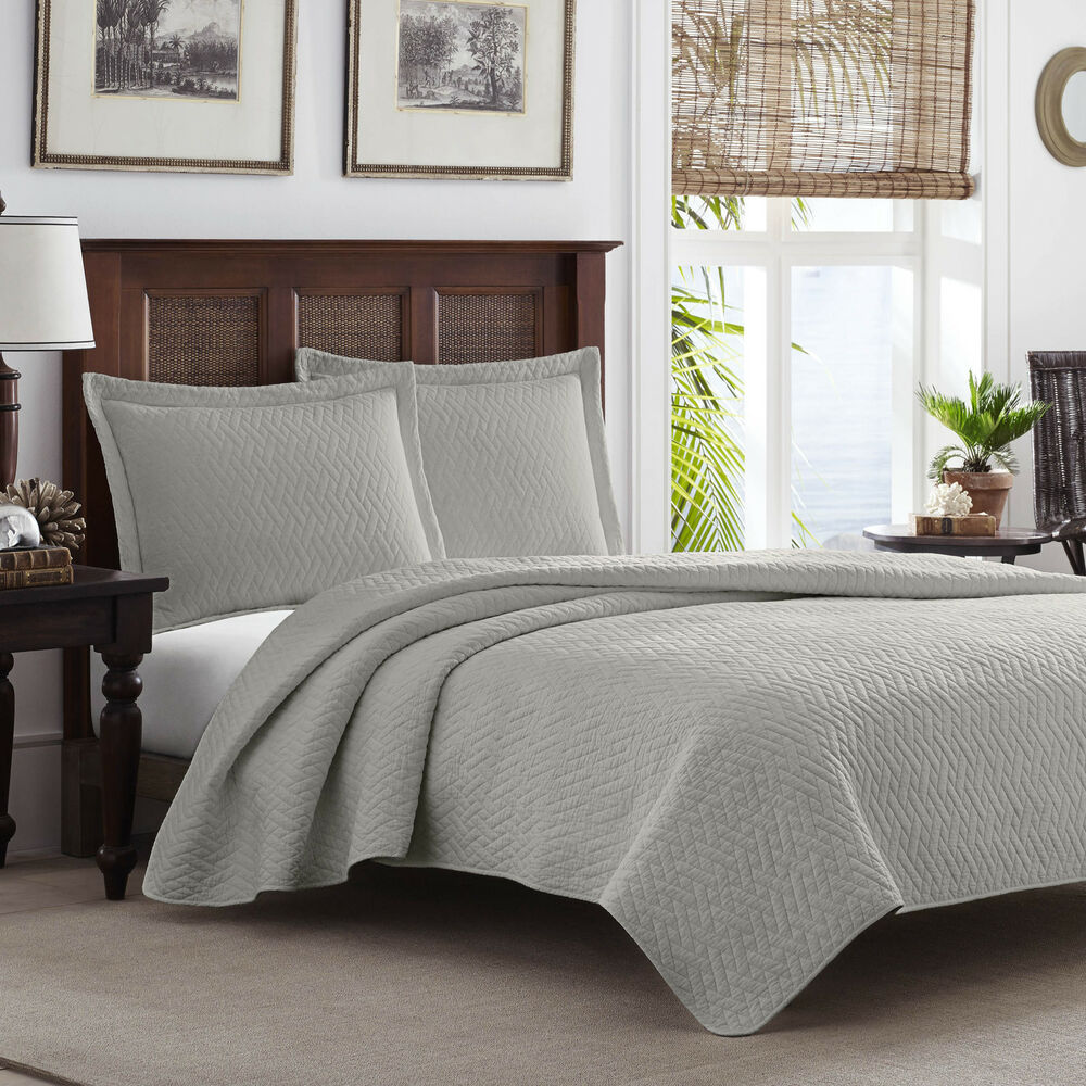 Tommy Bahama Pelican Gray Chevron 3 Piece Quilt Set Ebay