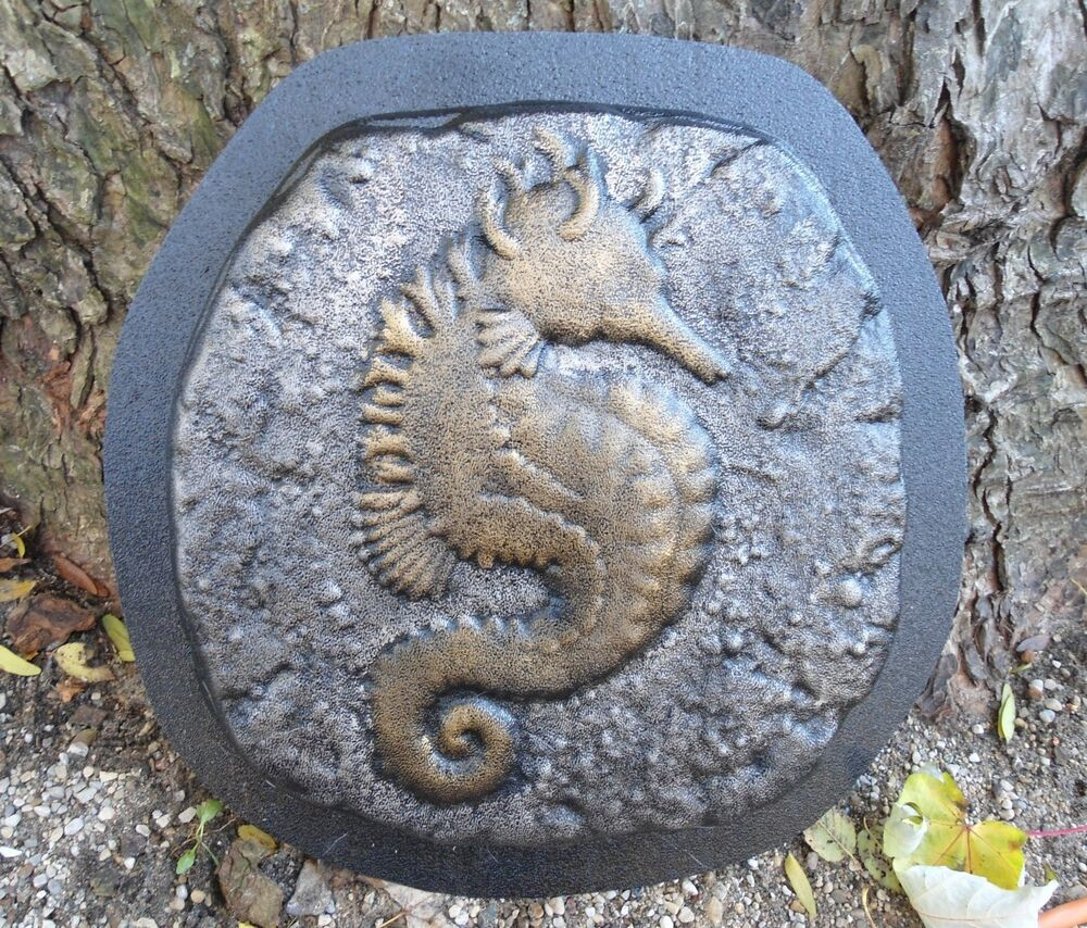 Gostatue seahorse stepping stone mold plaster mold for Garden pond moulds
