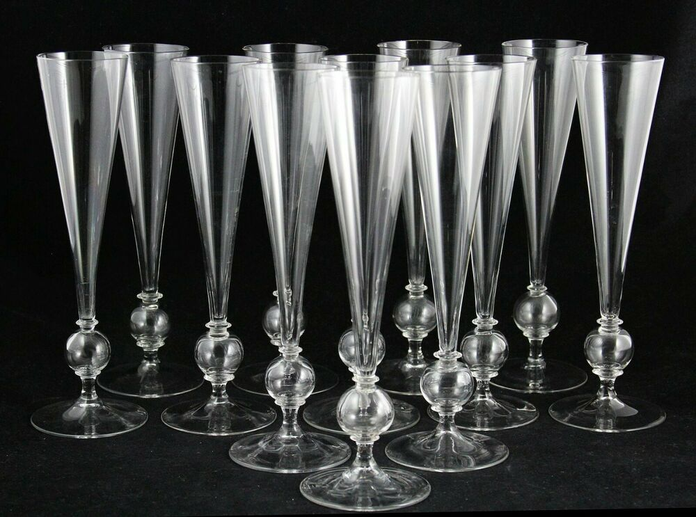 2x Art Deco Crystal Flute Champagne Glass Design Gerard