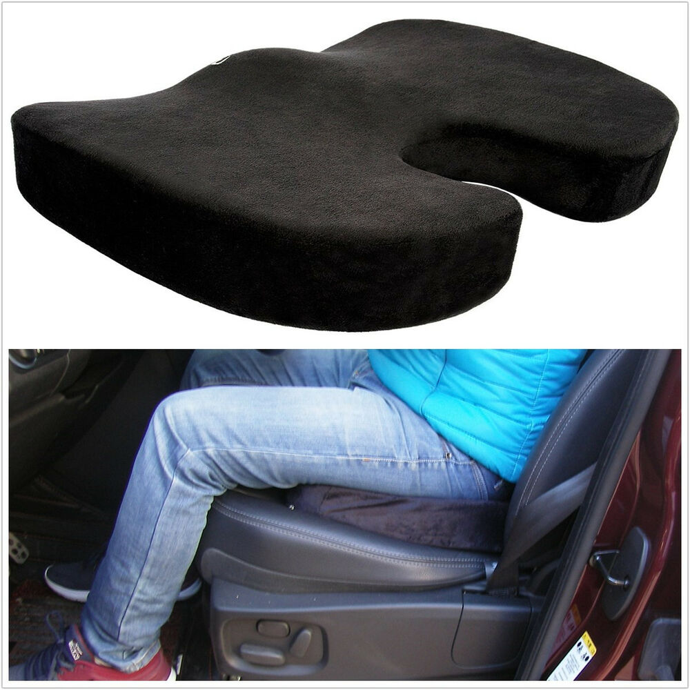 black memory foam seat pain support booster sit cushion car lumbar lower ache ebay. Black Bedroom Furniture Sets. Home Design Ideas