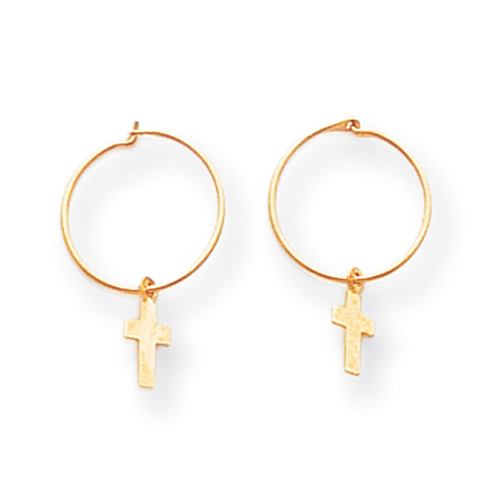 children s hoop earrings 14k yellow gold small cross endless hoop earrings madi k 1416