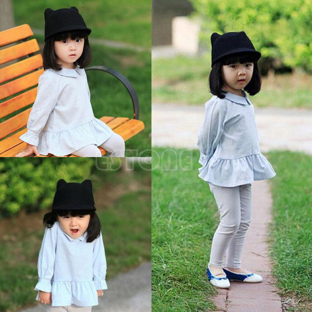 8858983465c Details about New Lovely Kids Boys Girls Cute Cat Ear Fedora Solid Bowler  Cap Wool Felt Hat