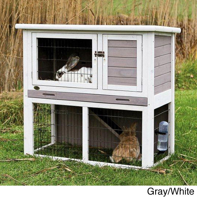 Trixie rabbit hutch with sloped roof ebay for Outdoor rabbit hutch kits