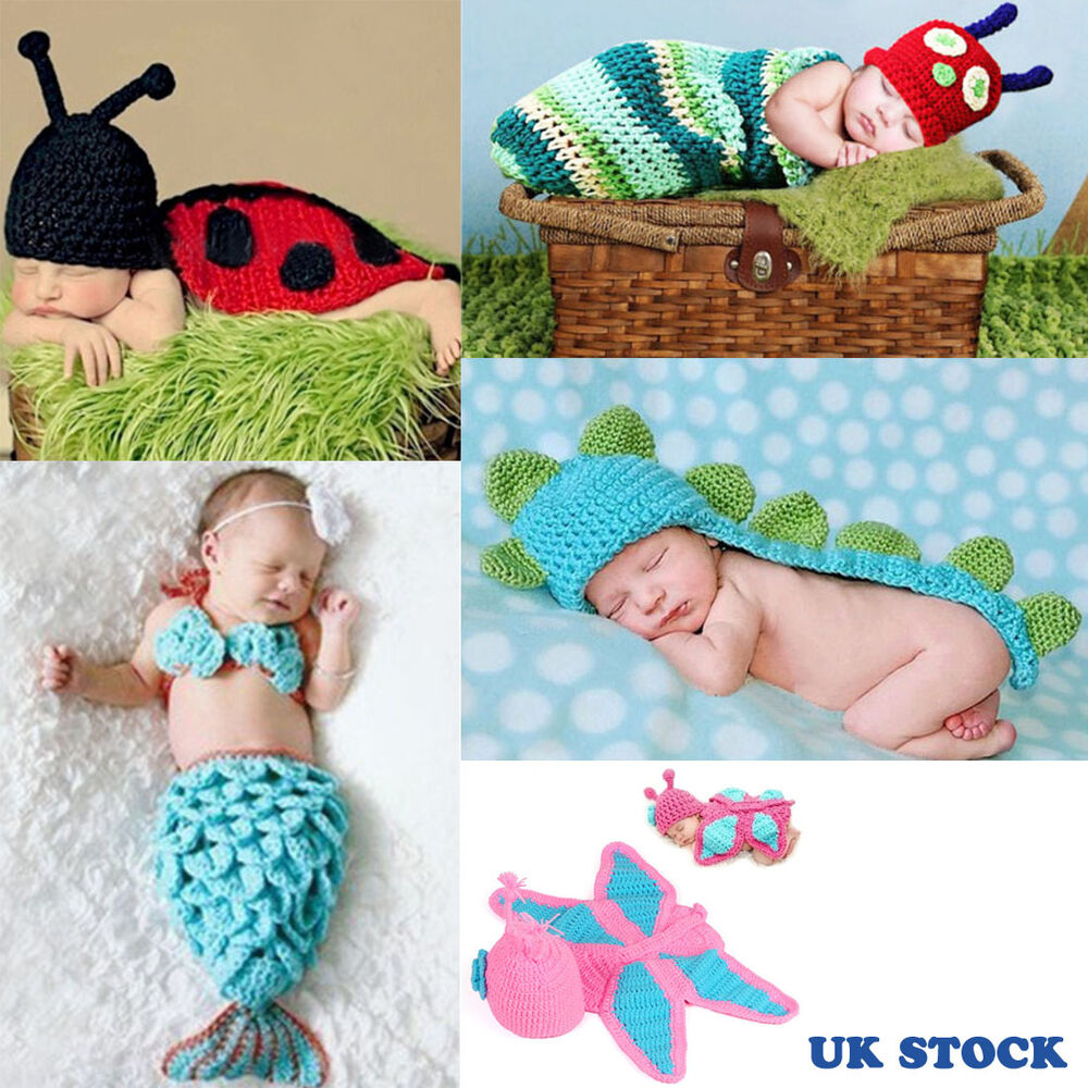 Cute Newborn Infant Baby Crochet Knit Costume Animal Clothes Photography Prop UK | eBay