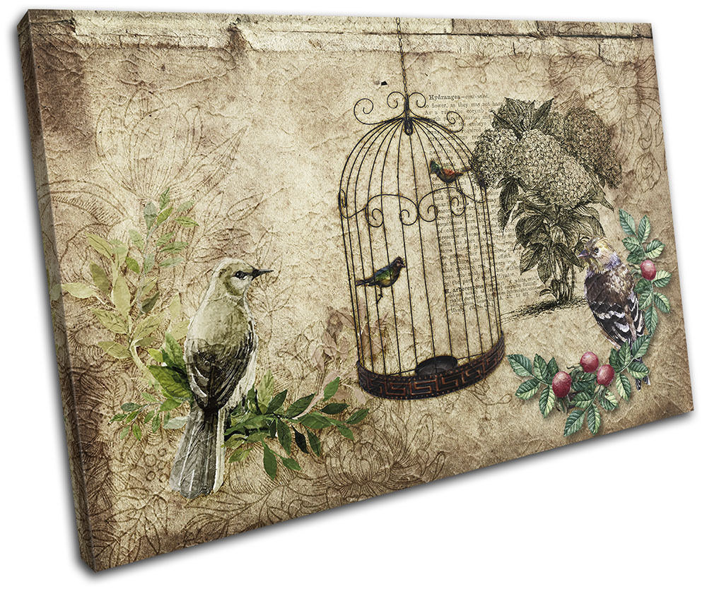 Garden vintage bird floral single canvas wall art picture for Wall art prints