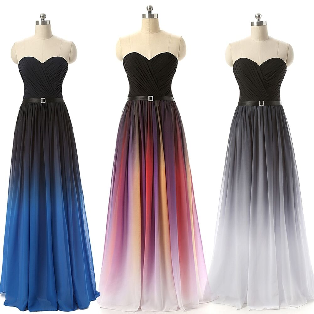 Long prom evening dresses wedding party bridesmaid chiffon for Evening gown as wedding dress