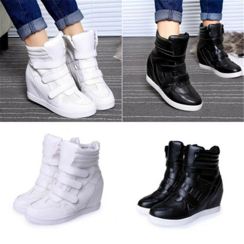 Black Wedge Fashion Sneakers