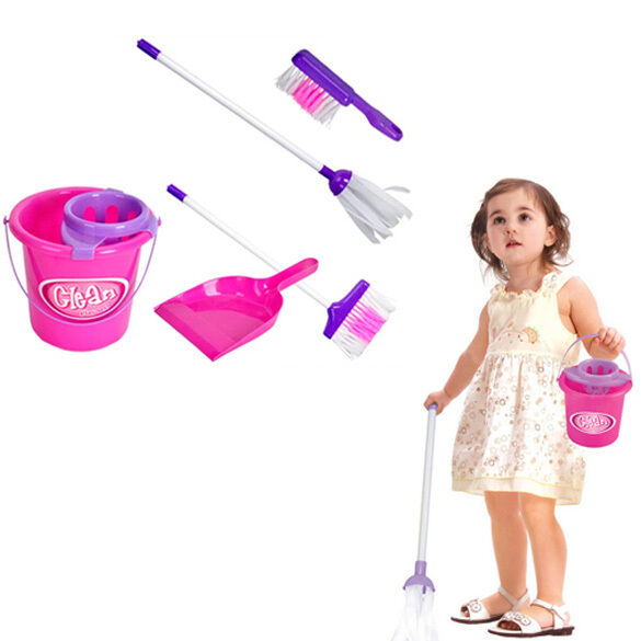 5x Kids Girls Play House Cleaning Mop Broom Bucket Brush