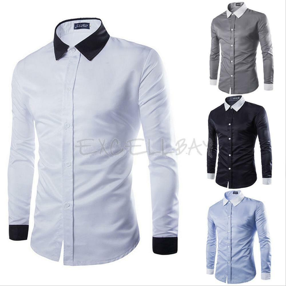 New Stylish Mens Casual Button Slim Fit Long Sleeve Casual