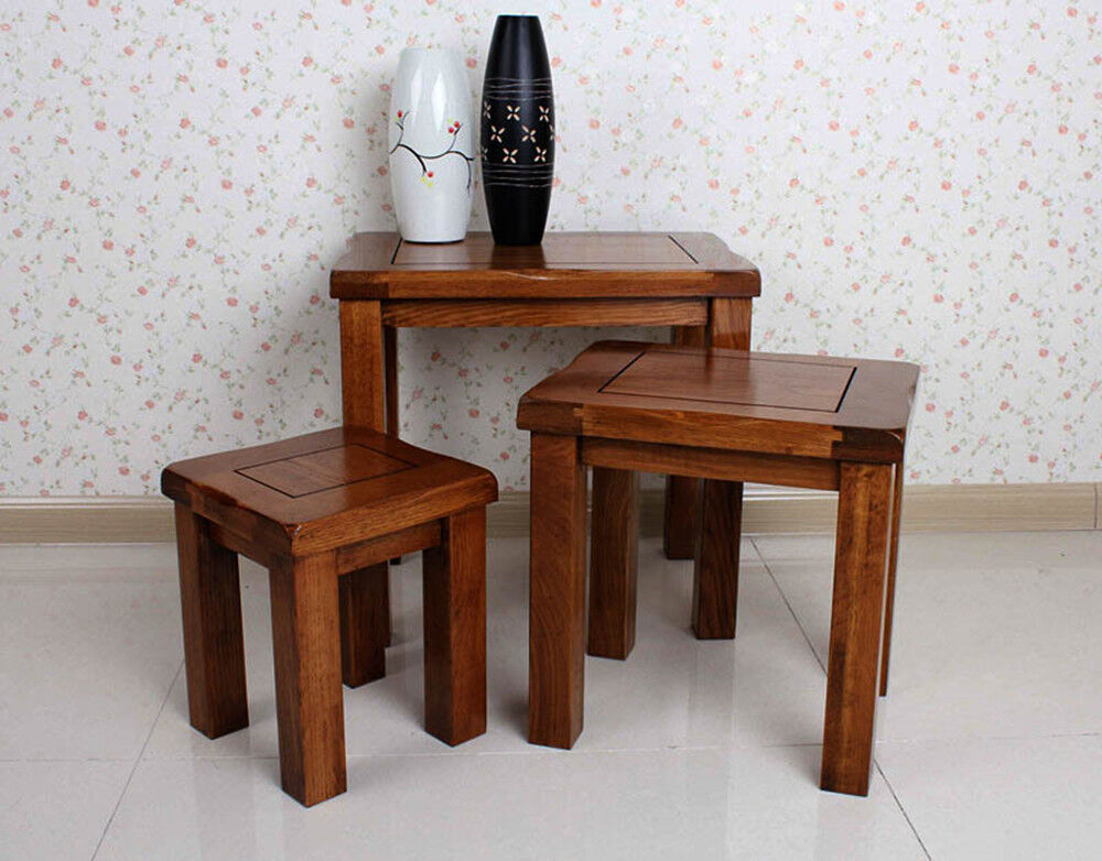 Handcraft original rustic solid oak nest of tables