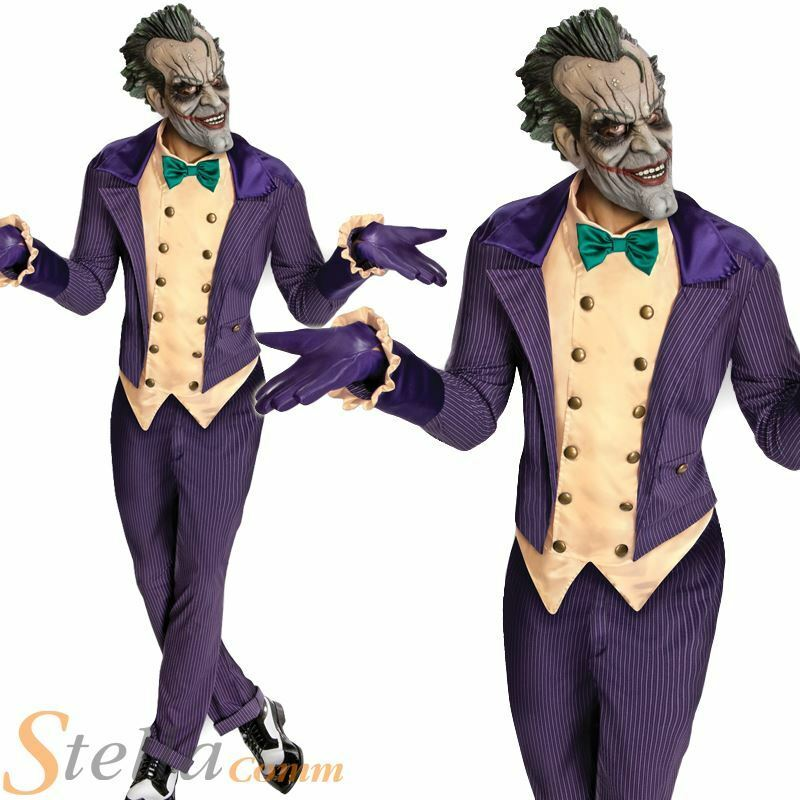 Mens Deluxe Arkham City Joker Fancy Dress Costume Batman ...
