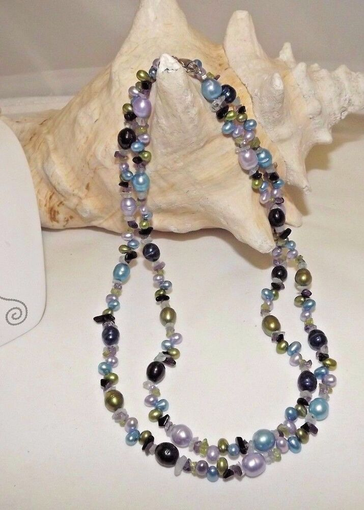 New Honora Ringed Pearl Necklace 36 Quot With Gemstone Chips